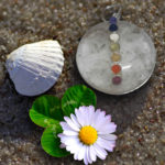 Clear Quartz Sphere 7 Chakra Gemstone Pendant