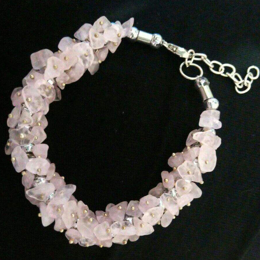 Rose Quartz Gemstone Chip Bracelet